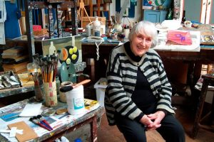 Mary Fedden, artist, in her studio Durham Wharf, Chiswick
