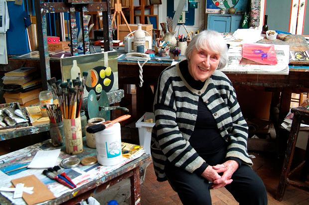 Mary Fedden, the artist, in her studio in Durham Wharf