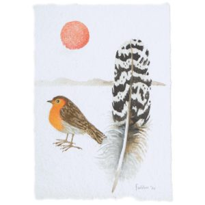 Mary Fedden. Robin with feather.