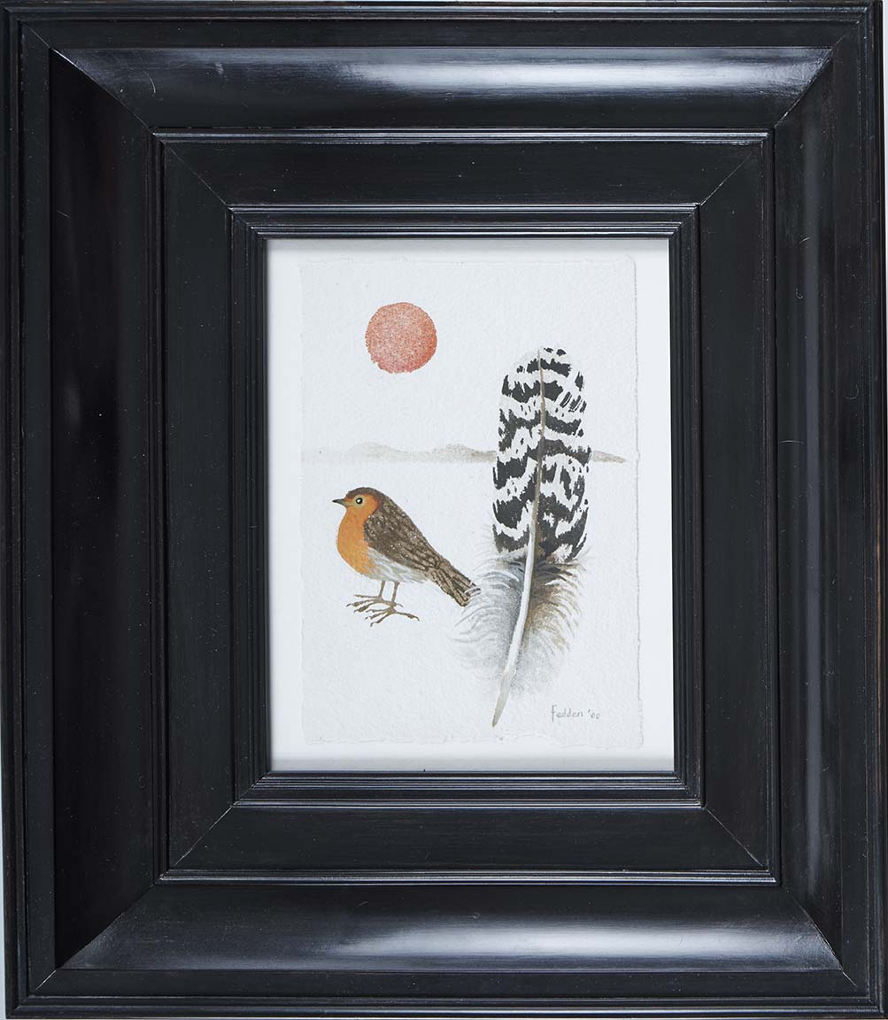 mary-fedden-robin-with-feather-frame