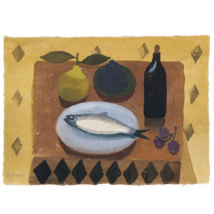 Mary Fedden. Still life with fish and pear.