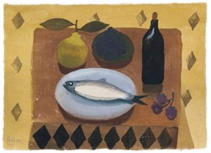 mary-fedden-still-MARY FEDDEN. STILL LIFE WITH FISH AND PEAR.life-with-fish-and-pear-frame