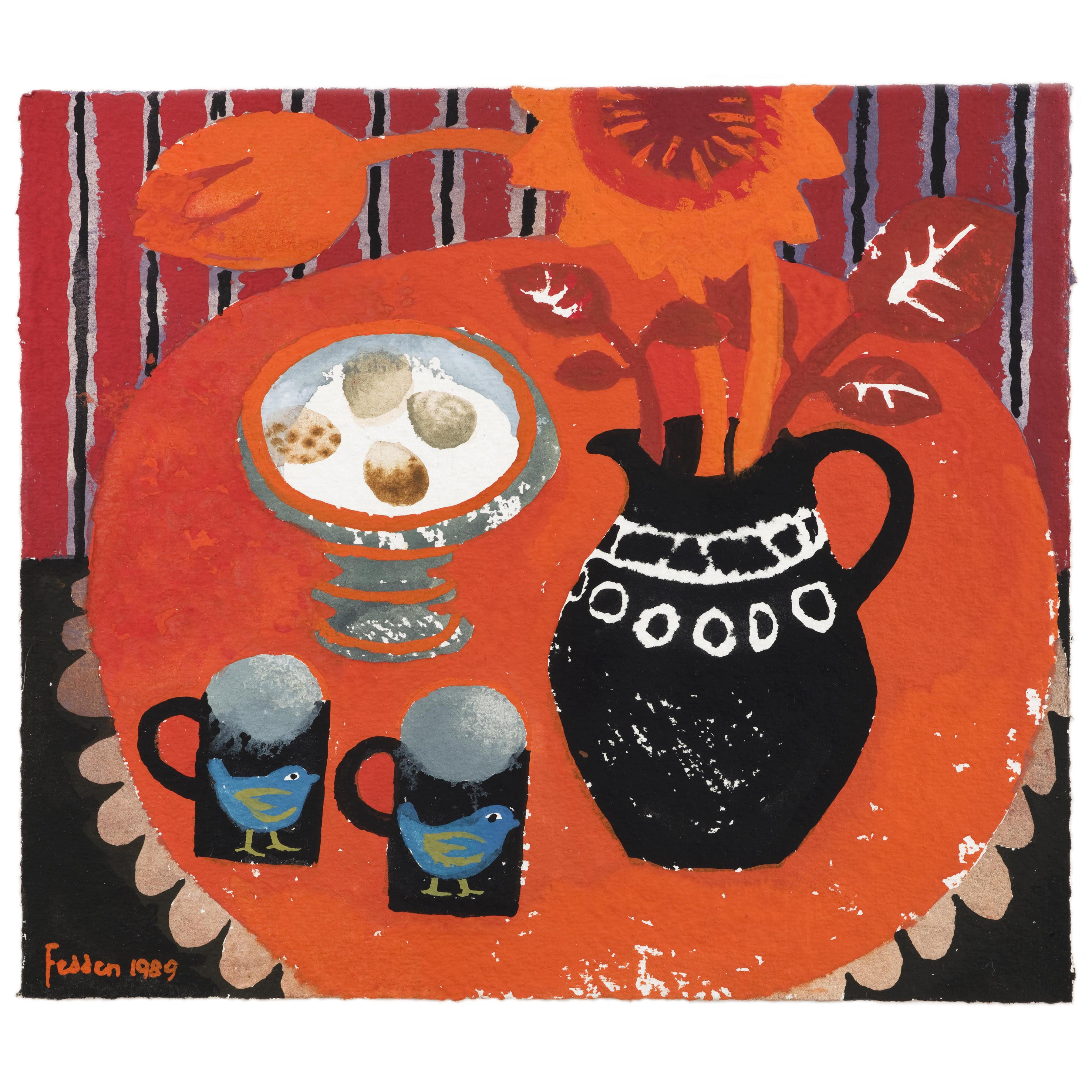 MARY FEDDEN. THE RED TABLE. 1989. SOLD