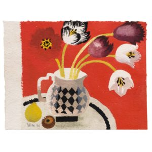 Mary Fedden. Tulips on Red.