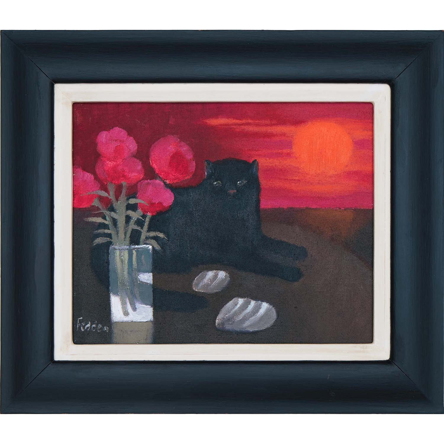 mary-fedden-cat-in-red-sunset-frame