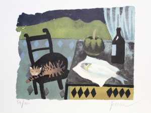 Mary Fedden Cat and Fish lithograph print