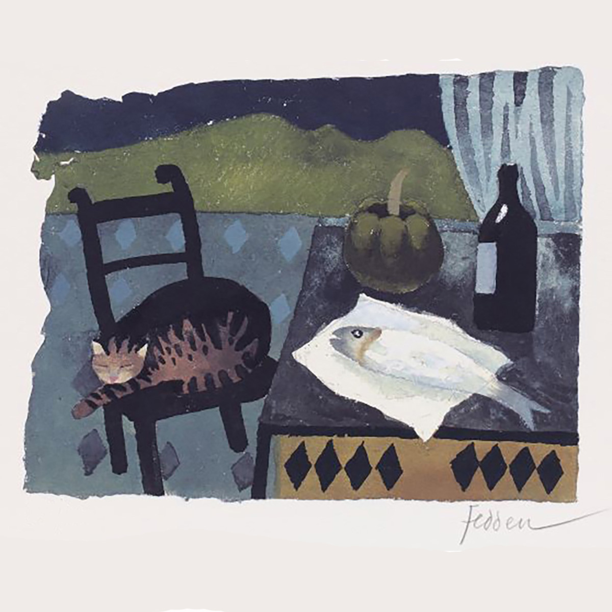 MARY FEDDEN. CAT AND FISH. 2007